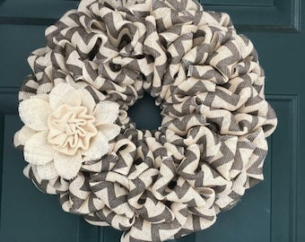 Small Grey Chevron Wreath