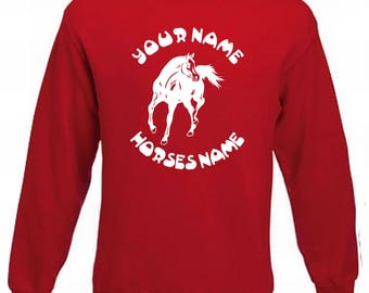 Kids Horseriding Personalised Jumper Horse Sweater Horse with names Equestrian Sweatshirt