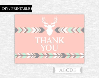 Instant Download Grey, Mint, Light Coral Girl Woodland Deer Party Thank You cards Thank You notes Birthday party Baby shower (PDWSI003)
