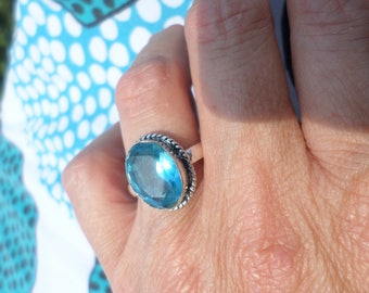 (BA62) sky blue QUARTZ and 925 sterling silver ring