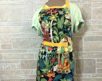 Mexican inspired apron, apron lover apron, chef apron, monkey apron