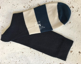 PerTin Navy,Teal and Ecru Stripe Organic Cotton Socks Made in England, Fits Sizes 6 – 11.