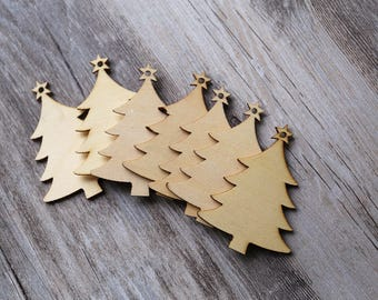Blank Wood Christmas ornament tree,unfinished wooden ornament for Christmas decorations,DIY Crafting Wooden tree for hanging,gift tags,