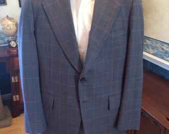 Plaid Disco Blazer - Mens Blue Windowpane Plaid Sport Coat from F-One size Medium 42R 43R - Honey Comb Lining