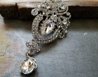 Long Rhinestone Flat Back Embellishment Ornate Swinging Drop Pin Clear Crystal Broach Dangling Wedding Brooch Bouquet Silver DIY Brooch SC27
