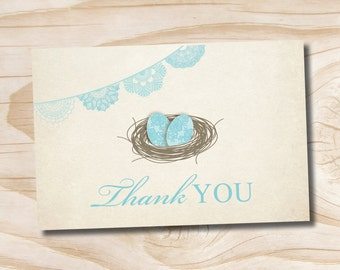 INSTANT DOWNLOAD Bless This Nest Shabby Chic Bird Twin Baby Shower Thank You Card