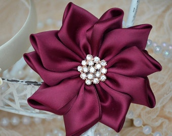 "Burgundy Satin Ribbon Flowers, 3 1/2"" Satin Fabric Flowers, Satin Flower,  Satin Roses, Ribbon Flowers, Crystal Flowers, 30 Colors"