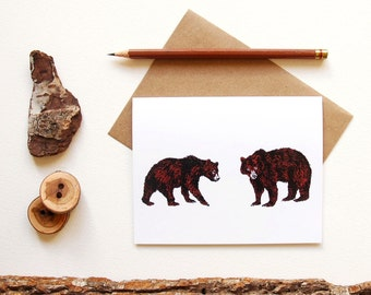 Pair of Bears Cards - Grizzly Bear Print - Illustrated Greeting Card - Animal Couple - Animal Lover - Animal Pair - Canadian Wildlife Card