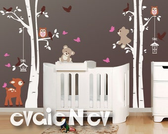 Baby Wall Stickers - Deer, Teddy Bears, Birds and Trees Wall Decal -  Baby Nursery Decal and Baby Nursery Sticker -  PLFR060
