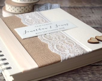 Burlap & Lace Rustic Wedding Guest Book with Wooden Hearts. Hessian Handmade, Personalised Wedding Guestbook.