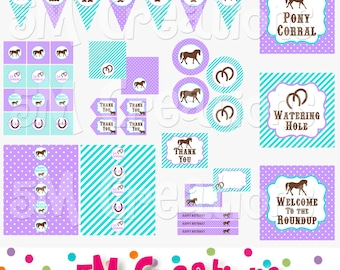 PONY Birthday Party Printable Decorations Package - Horse Party Printables - Cowgirl - Pony Banner Cupcake toppers - INSTANT DOWNLOAD Pdf