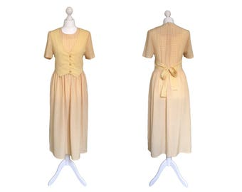 Yellow 90's Dress   1990's Vintage Dress   Waistcoat Dress   Yellow And White Check Dress