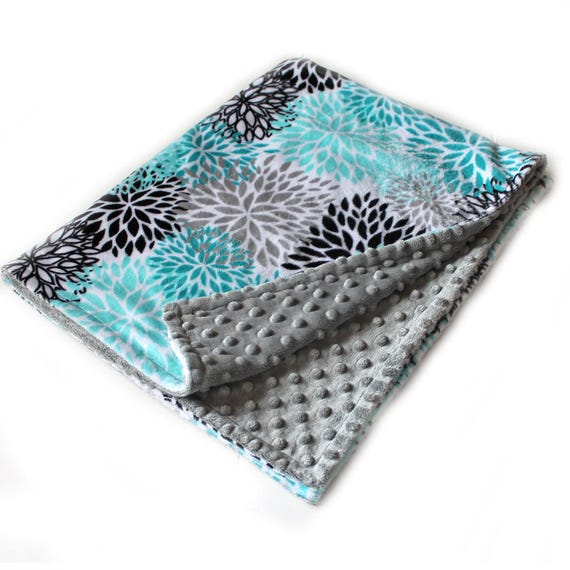 Floral Minky Blanket 60 x 70 Adult Minky Blanket, Teal Personalized Blanket / Flower Blanket / Teal Minky Throw Blanket / Twin Blanket