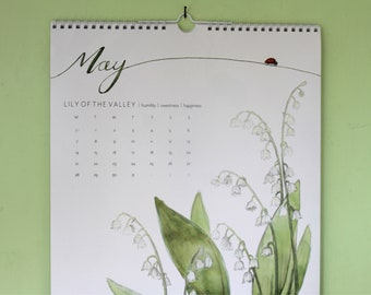 Birth Flower 2018 Calendar, New Year, Calendar, A3 calendar, 2018 calendar, wall calendar, calendar, gift, wall décor, decorative, floral