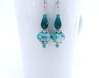 Lampwork Bead Earrings, Beaded Dangle Earrings, Teal Earrings, Crystal Earrings, Silver Crystal Drop Earrings, Teal Jewelry, Gift for Her