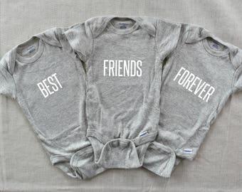 Triplets Onesies, Womb Mates Triplets Onesie, Triplets  Onesie, Triplets Clothes, Triplets Gift,Best Friends Onesies