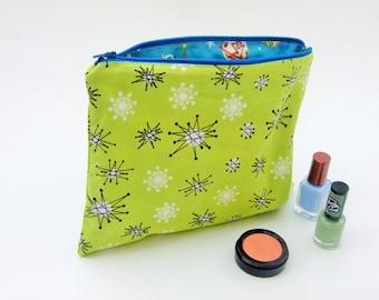 Make up bag, atomic green fabric, kitsch space kids, retro kid fabric, 1950s atomic design, retro atomic print, green cosmetic bag