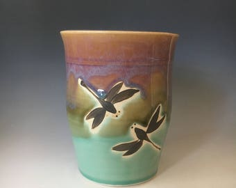 Dragonfly Pottery Spoon Jar, Pottery Vase, Ceramic Utensil Jar.