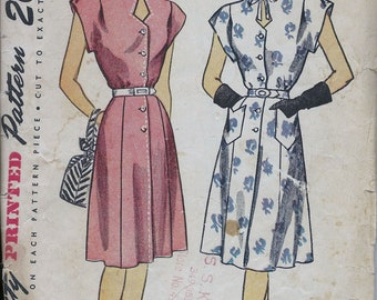 1940s Simplicity 1684 Misses' One-Piece Dress Sewing Pattern CUT