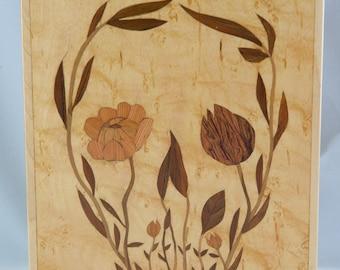 Flower Skull Marquetry Box OOAK