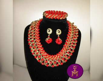Beaded crystal bead necklace handmade with beaded ball earrings and bracelet bead set gold and red