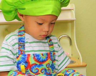 Childs Apron in Tie-Dye Print, Montessori Apron