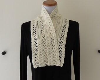 White Crochet Scarf Merino and Silk