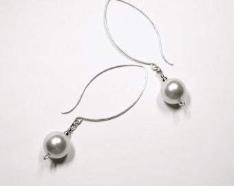 Pearl Drop Earrings, Sterling Silver Earrings, Swarovski Pearl Earrings, Large Pearl Earrings, Minimalist Pearl Earrings