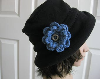 Crochet Flower Pin-Blue Flower Pin-Blue Flower Brooch-Crochet Flower-Crochet Flower with Button-Crocheted Pin-Crochet Brooch- Blue Pin