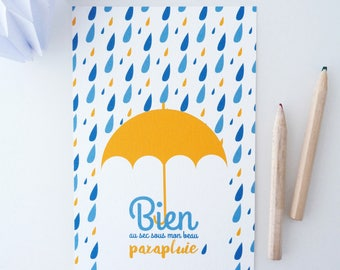 Postcard illustrated with an umbrella and rain drops