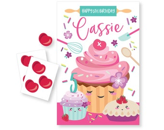 Pin the Cherry on the Cupcake - DIY party game - party game for girls - cupcake, baking game - cupcake party game / digital files