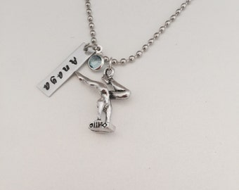Gymnastics Necklace Personalized Hand Stamped Gymnast Necklace Child Stamped Necklace Teenager Stamped Necklace Customized Jewelry