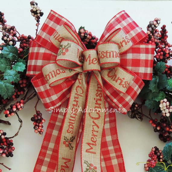 Merry Christmas Scripts Bow Red Cream Christmas Plaid Wreath Bow Country Tartan Christmas Wreath Bow Christmas Greeting Swag door Hanger Bow