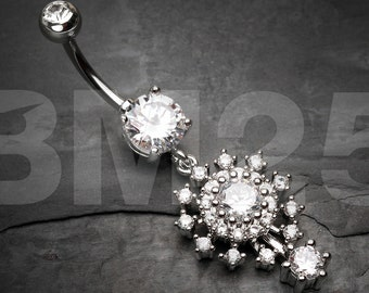 Grand Sparkle Burst Belly Button Ring