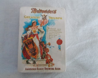 Vintage NIP Budweiser Plastic Coated Playing Cards
