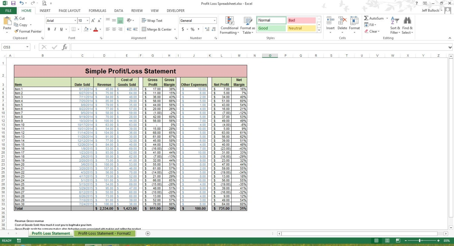 Profit loss statement excel spreadsheet template microsoft zoom alramifo Choice Image