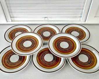 Vintage Salad Plates Retro Stoneware Acsons Corona Southwest Dinnerware Bohemian Mid Century Home Decor Dinnerware Orange Brown Circles