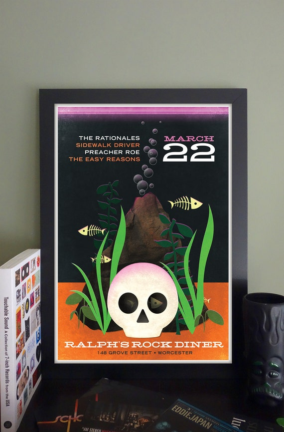 """The Rationales/Sidewalk Driver/Preacher Roe/The Easy Reasons Gig Poster // Ralph's Diner Worcester, MA 13""""x19"""""""