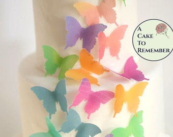 Wedding cake topper edible butterflies. 24 watercolor wafer paper butterflies for cake decorating, cupcake decorating and cookie decorating
