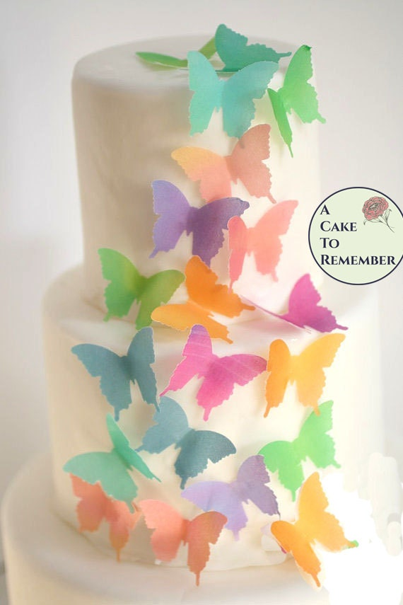 Wedding cake topper edible butterflies. 24 watercolor wafer