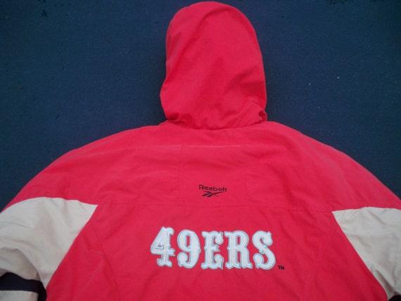 NFL Football Francisco Size Parka Large Vintage 49ers San Coat Jacket Reebok Men's qt6x7XOwW