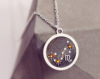 Zodiac Jewelry Gift | Scorpio Necklace | Sterling Silver | Horoscope Necklace | Astrology Jewelry | Zodiac Necklace | Galaxy Jewelry Gift