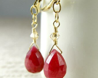 Simple Ruby Stone Earrings, Gold Filled, Natural Red Gemstone, Genuine Teardrop Dangle, July Birthday Birthstone, Handmade Jewelry Gift