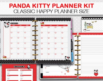 Happy Planner Panda printable planner, week on two pages, weekly planner, monthly view, kawaii instant download panda kitty