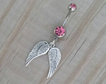 Angel Wings  Belly Button Ring, Heart Navel Ring, Belly Button Jewelry, Body Jewelry, Love Belly Ring, 14g Barbell, Belly Piercing.