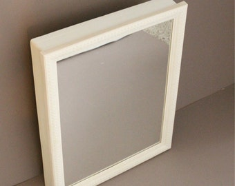 Vintage White Medicine Cabinet With Glass Mirror, Medicine Cabinet,  Bathroom Mirror, Bathroom Plastic