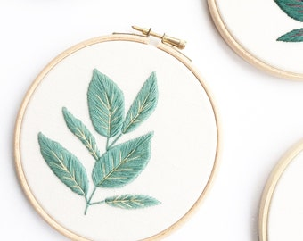 Rubber Plant Embroidery Hoop Pale Green