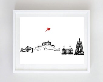 Edinburgh City Skyline Fine Art Print, Home Decor, National Gallery, National Gallery, Forth Bridge, Scott Monument, Scotland , Edinburgh