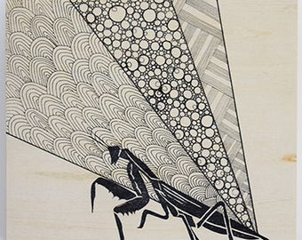 Praying Mantis Wood Panel