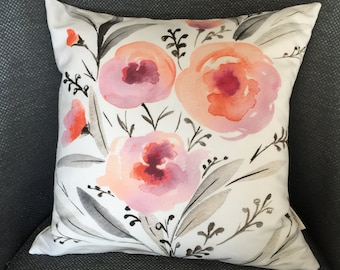 16in x 16in Watercolor Pillow Case, Lovely Floral Watercolor pillow Decorative Cushion cover, water-colour eco friendly pillow